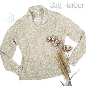 💝 Sag Harbor - Tan Metallic Silver Cowl Sweater L